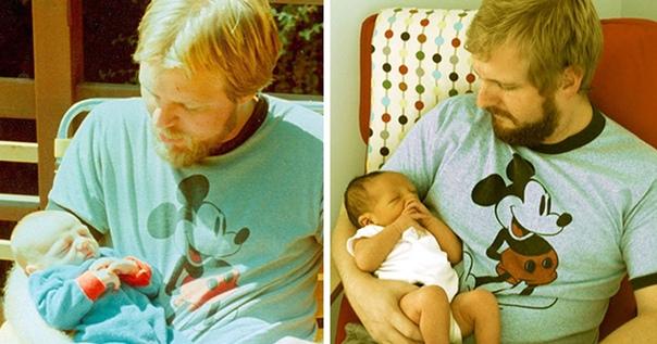 Фотопроект Я и моя тень. Фото родителей и их детей в одном возpacте.