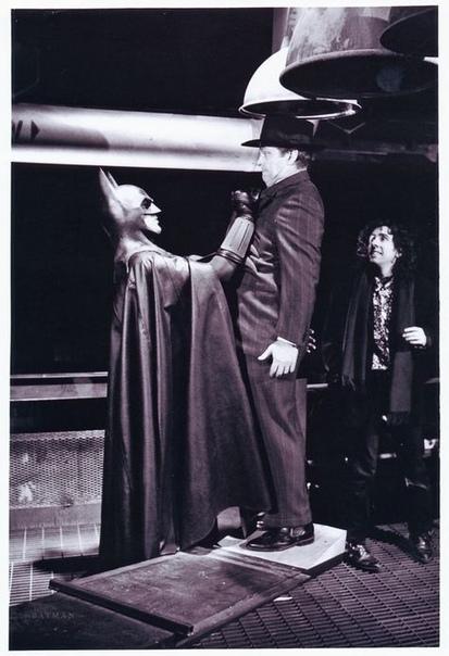 Майкл Китон, Джек Николсон и Тим Бёртон на съемках «Бэтмена», 1988 год