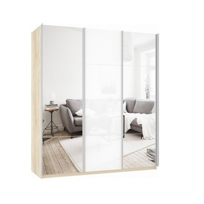 Шкаф Прайм 3-х дверный (Зеркало/Белое стекло) ш 1800