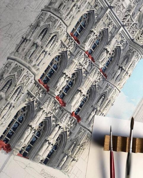 Русский графический дизайнер и акварелист Элеонор Милл, как никто, умеет запечатлеть дух места С помощью своих архитектурных акварельных зарисовок она документирует здания в тончайших и
